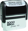 "Printer 10 - P10 Self-Inking CUSTOM Stamp. Ink pad provides thousands of impressions! Easy to re-ink. Add your signature, logo or any drawing with text. Simple and dependable! Impression area 3/8""x1-1/6"". COSCO 2000 plus."