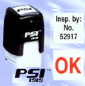 "PSI-1919  PSI Self-Inkers require no pad. Lasts 3-5 times longer than others. Oil base ink. Smooth and quiet operation. Available in 5 ink colors.  Ready in as little as 2 hours! Area: 3/4""x3/4"". Excellent inspector stamp!"