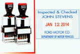"""2360 - Self-Inking CUSTOM Date Stamp with your personal text/logo added. Metal Frame, extra heavy duty for high volume use. Designed for thousands of impressions. Area 1-1/4""""x1-13/16"""" with #1-1/2 dates in center. One or two color pads available."""