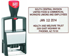 """2660 - Self-Inking CUSTOM Date Stamp with your personal text/logo added. Metal Frame, extra heavy duty for high volume use. Designed for thousands of impressions. Area 1-1/2""""x2-5/16"""" with #1-1/2 dates in center. One or two color pads available."""