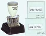 Any custom information included with #1-1/2 rotary date and includes a pad dish tray. Compact size is favored by financial institutions. 401-1/2 401-1/2