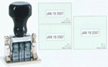 #1 dater allows your custom information with #1-1/2 rotary dates. Available with stamp pad dish in any color.