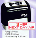 """PSI-1444  PSI Self-Inkers require no pad. Lasts 3-5 times longer than others. Oil base ink. Smooth and quiet operation. Available in 5 ink colors.  Ready in as little as 2 hours! Area: 1/2""""x1-3/4""""."""