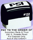 """PSI-2264  PSI Self-Inkers require no pad. Lasts 3-5 times longer than others. Oil base ink. Smooth and quiet operation. Available in 5 ink colors.  Ready in as little as 2 hours! Area: 13/16""""x2-1/2""""."""